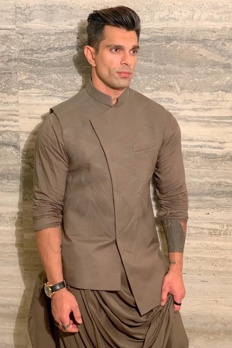 KARAN SINGH GROVER IN OLIVE QUILTED NEHRU JACKET SET