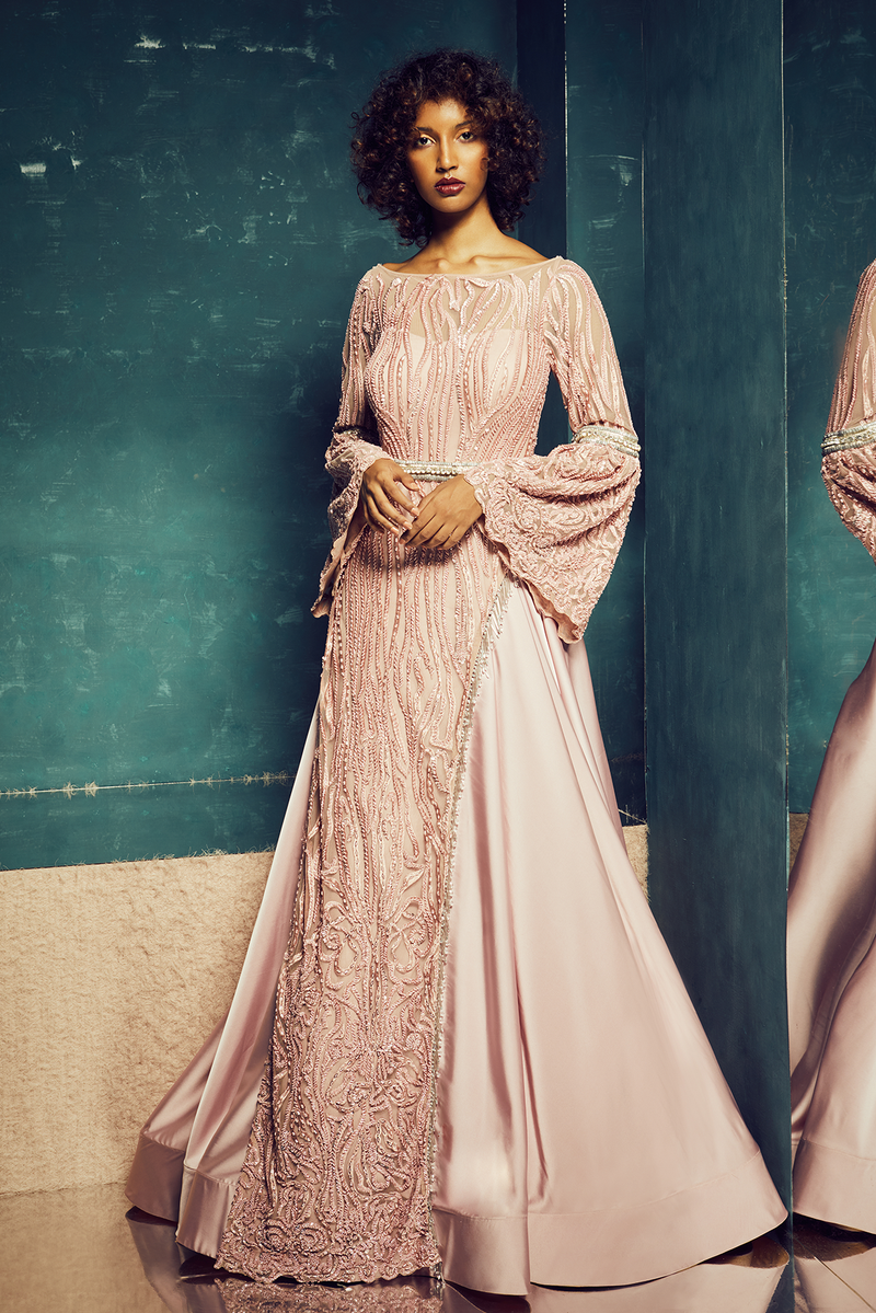 LIGHT PINK LAYERED SATIN GOWN