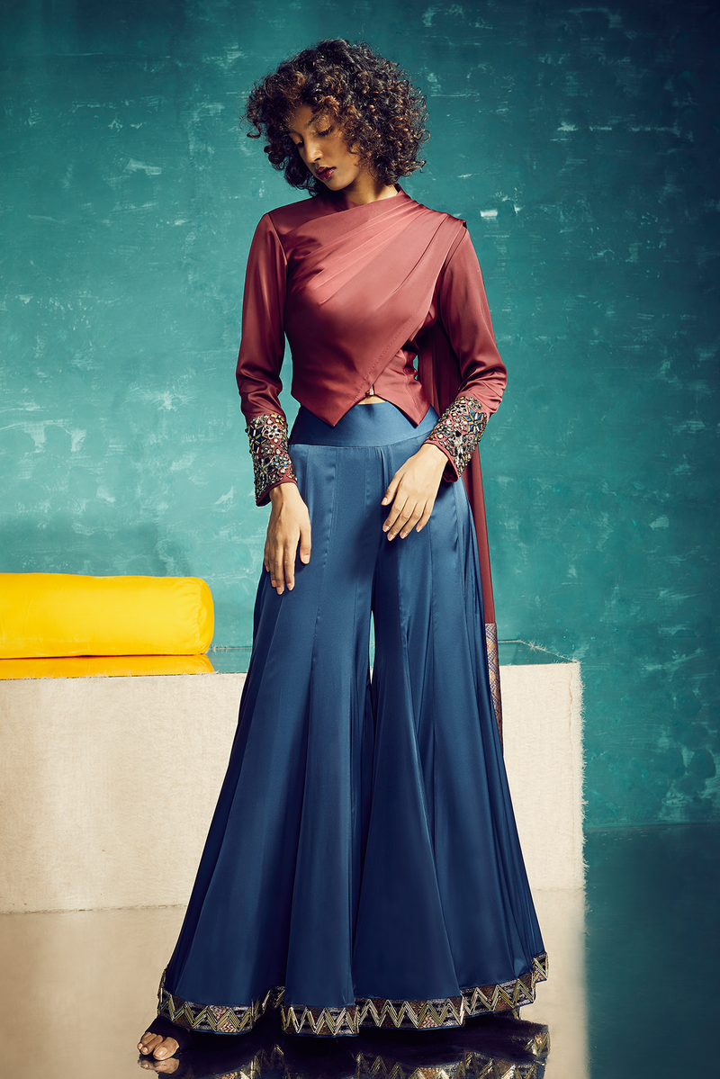 MAROON DRAPED JACKET WITH BLUE SHARARA