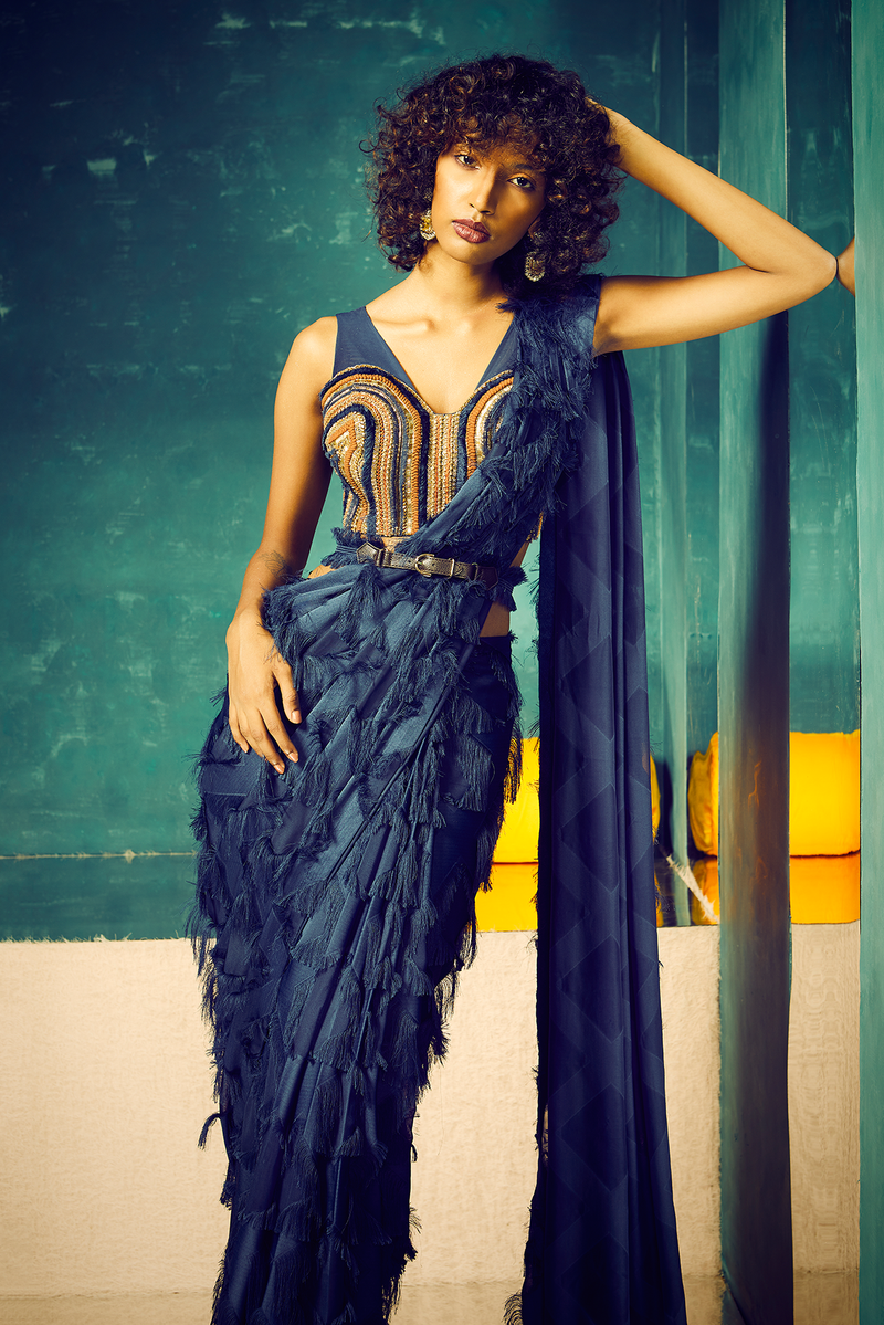 NAVY BLUE FRINGES SAREE WITH EMBROIDERED CORSET