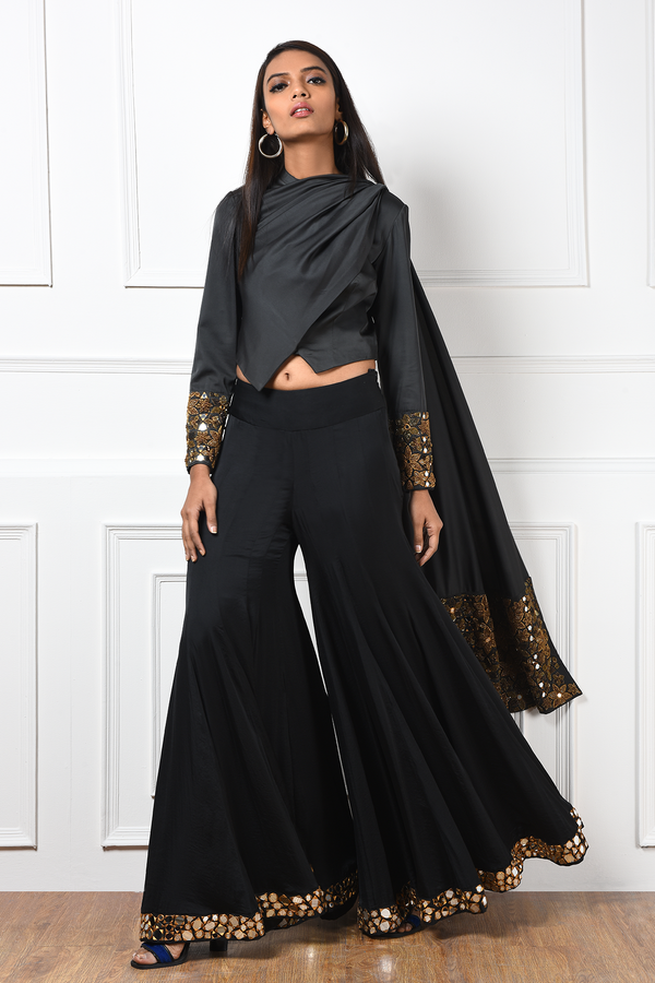 OLIVE DRAPED JACKET WITH BLACK SHARARA