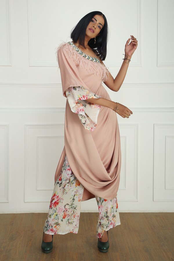 PINK DRAPED ONE-SHOULDER TUNIC WITH FLORAL PRINTED PANTS