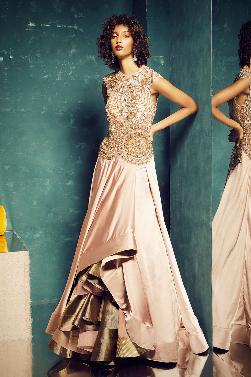 PINK LAYERED COCKTAIL GOWN