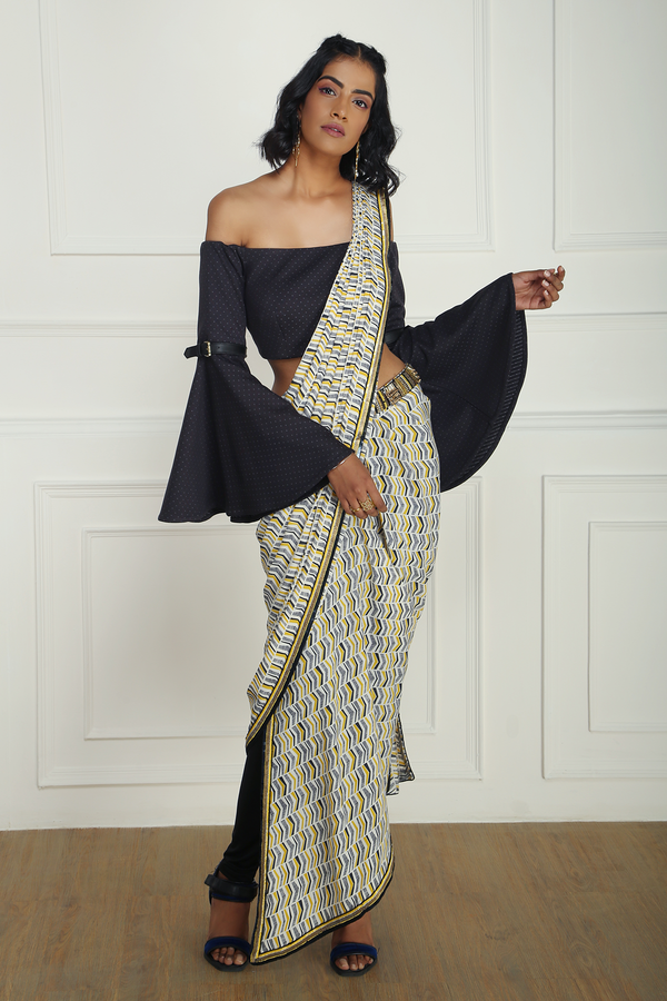 PRINTED PANTS SAREE WITH OFF SHOULDER BELL SLEEVE BLOUSE