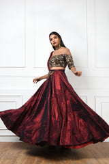 MAROON TEXTURED SILK LEHENGA WITH AN EMBROIDERED BLOUSE