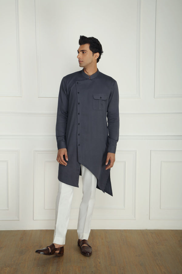 GREY ASYMMETRIC KURTA SET