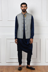 GREY QUILTED NEHRU JACKET SET