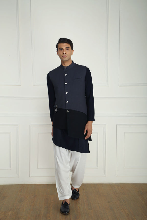 BLACK AND GREY PANELLED NEHRU JACKET SET