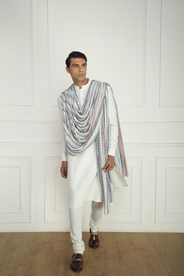 WHITE DRAPED KURTA SET
