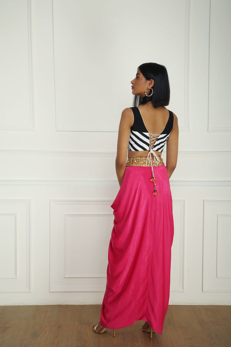CORSET WITH PINK DRAPED SKIRT
