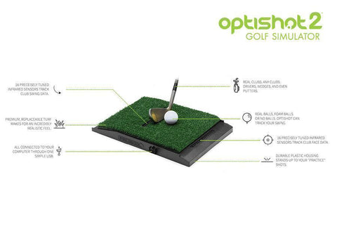 OptiShot 2 Golf-In-A-Box 2 Simulator Package Monitor Swing Pad