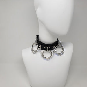 Light Up LED Chain and 3 Ring Choker - Black Leather