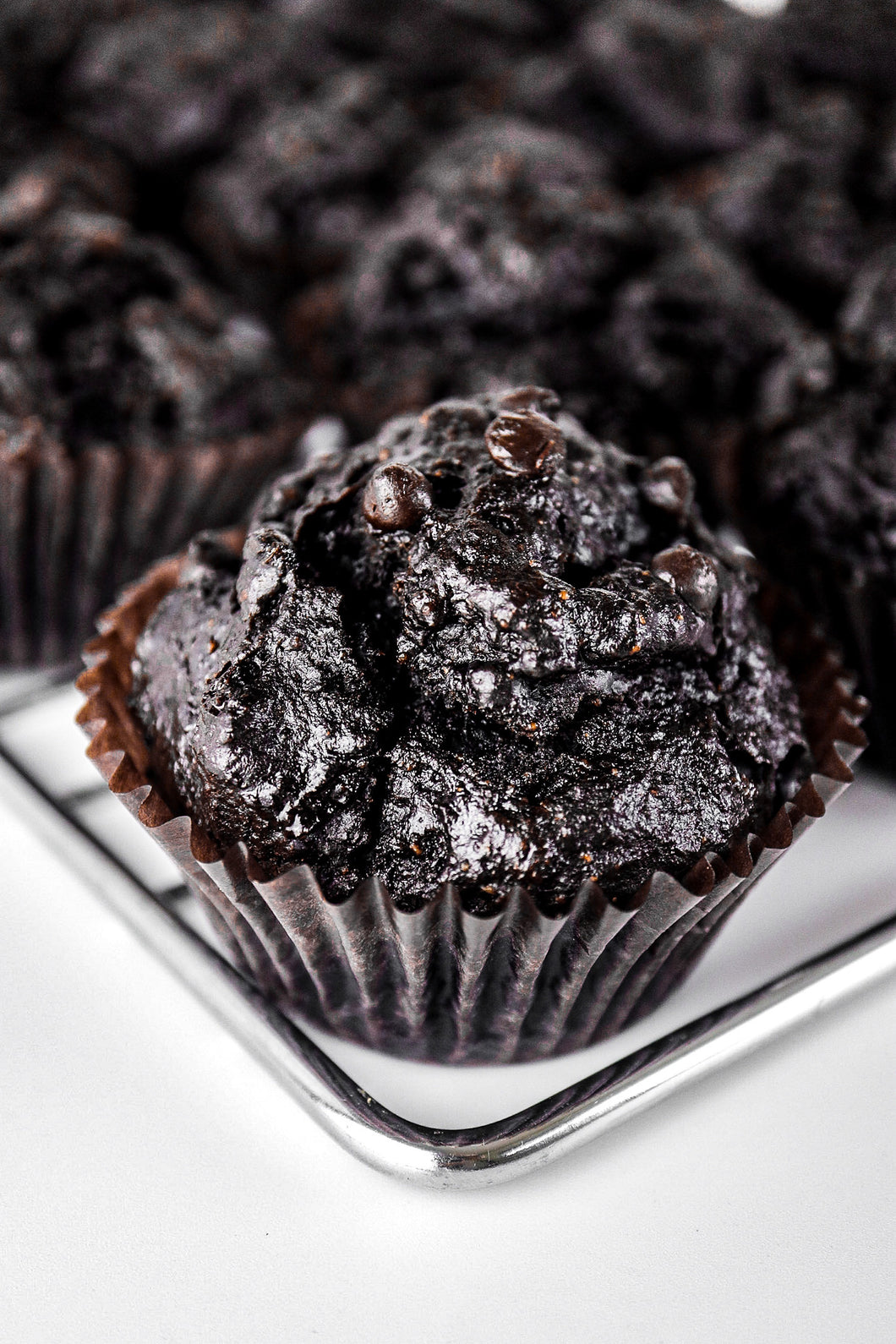 Fudgy Double Chocolate Chip Cupcake