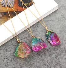 Load image into Gallery viewer, Rainbow Stone Natural Crystal Chakra Rock Chain Quartz Pendant Necklace Jewelry