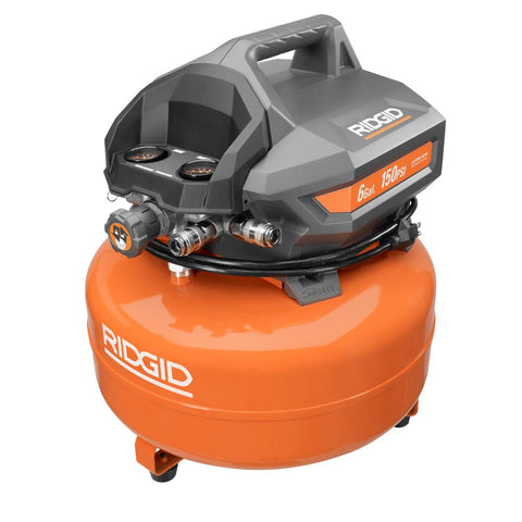"RIDGID 6 Gal. Pancake Compressor - 1/4"" Air Hose Included - Bath Bomb USA"