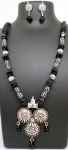 Black cylendrical beads with three silver circle pendant - Inspired Creations
