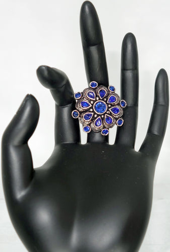 Blue Flower Finger Ring - Inspired Creations