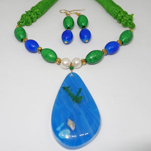 Blue Green with ocean Pendant - Inspired Creations