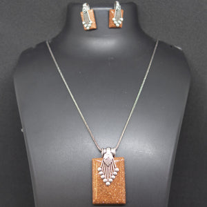 Colored Pendant and earring - Brown