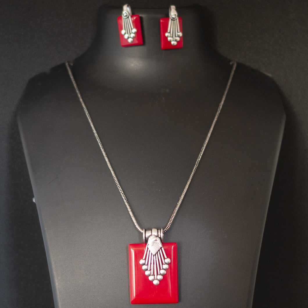 Colored Pendant and earring - Red
