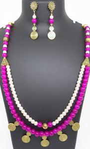 Two layer pink and white beads with gold spacers - Inspired Creations