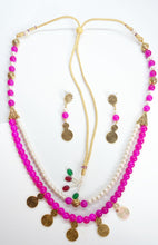 Load image into Gallery viewer, Two layer pink and white beads with gold spacers - Inspired Creations