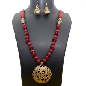 Dhokra Flower Maroon - Inspired Creations