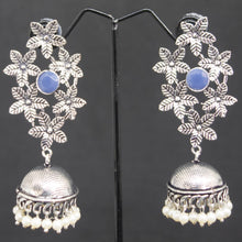 Load image into Gallery viewer, Flower Jhumka - Blue