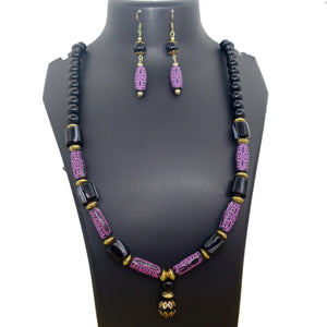 Black and Purple beads necklace