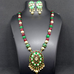 Green and Maroon Oval Meenakari