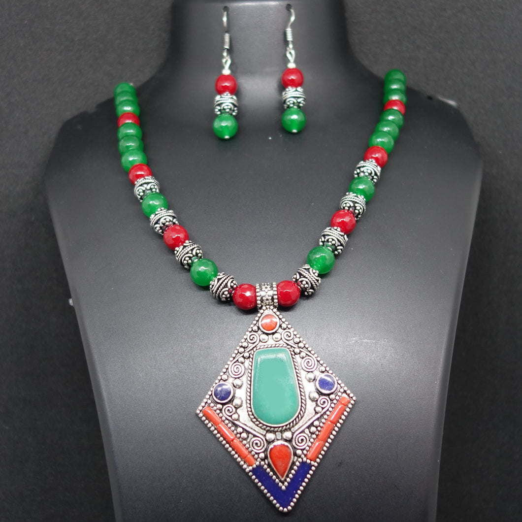 Green and red Nepali Pendant and Necklace