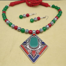 Load image into Gallery viewer, Green and red Nepali Pendant and Necklace