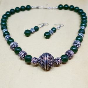 Glass Beads and Silver Spacer Necklace