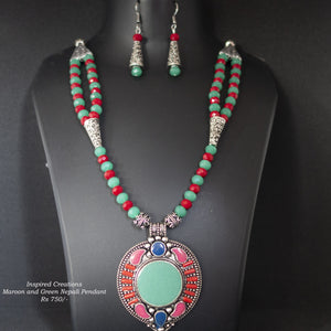 Maroon and Green Nepali Pendant