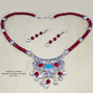 Maroon stone and Silver pendant necklace