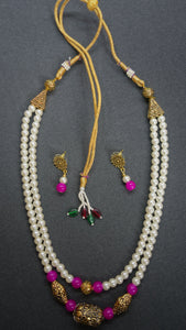 Matte Gold pendant with pink and pearl beads - Inspired Creations