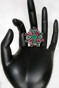 Multi Color Flower Finger Ring - Inspired Creations