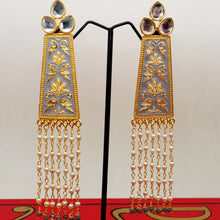 Load image into Gallery viewer, Rectangular Meena Kundan Earring