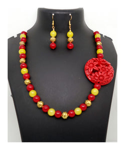 Red Yellow and Flower Pendant - Inspired Creations