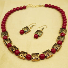 Load image into Gallery viewer, Red and Gold Necklace