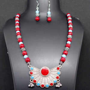 Red and Sky Blue Necklace