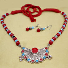 Load image into Gallery viewer, Red and Sky Blue Necklace