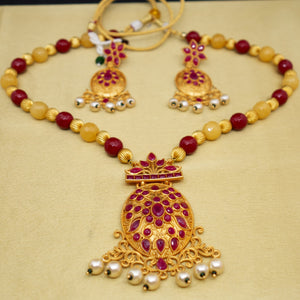 Red and Yellow Matte Gold Necklace