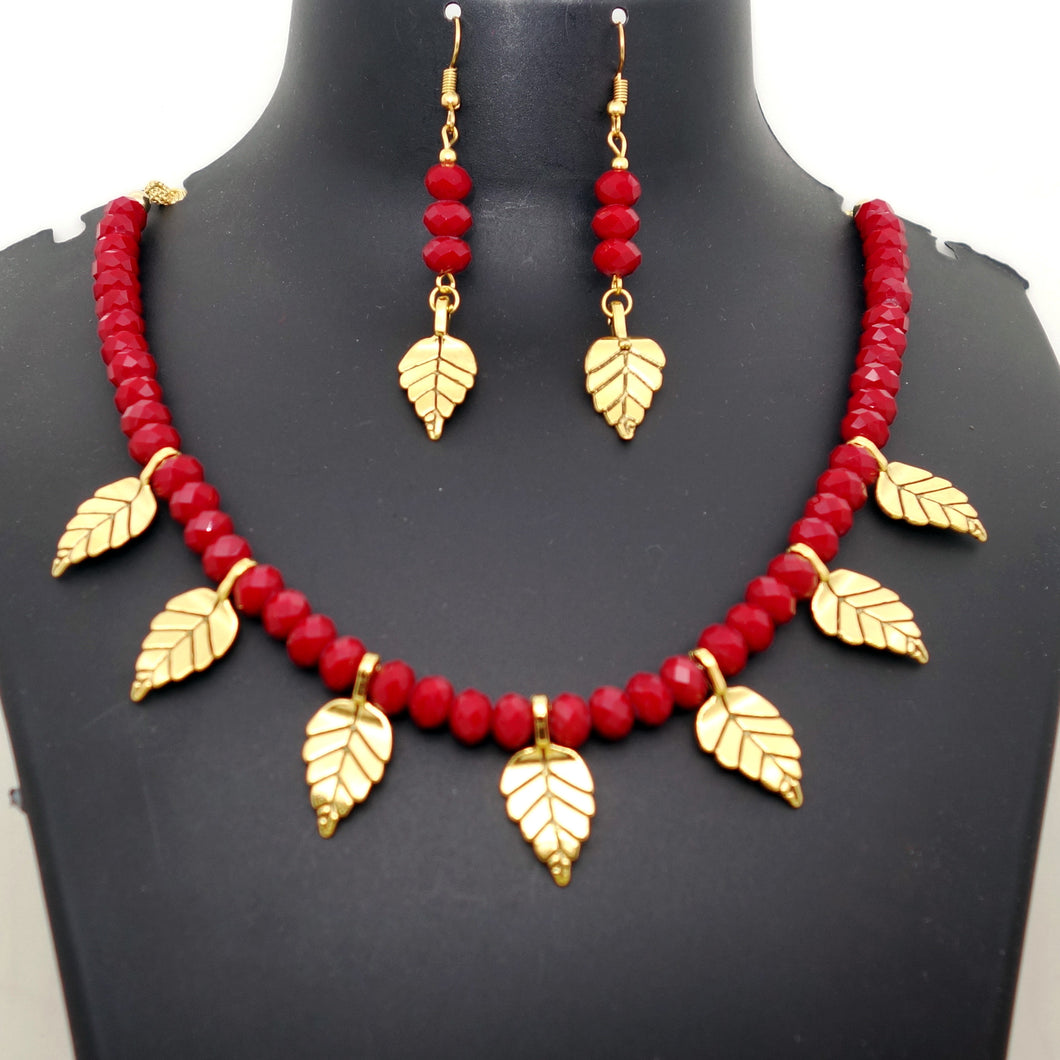Red crystal and gold leaves - Inspired Creations
