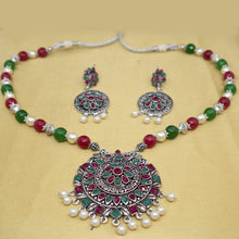 Load image into Gallery viewer, Silver Maroon and Green Necklace