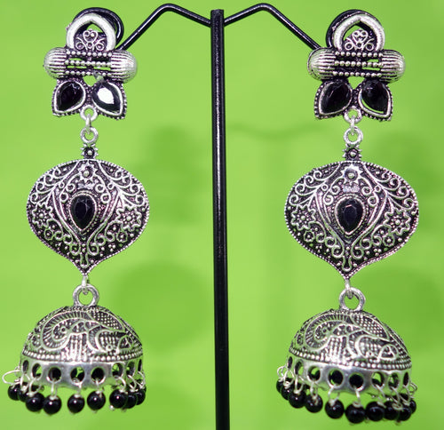 Silver three layer Jhumka Earrings - Inspired Creations