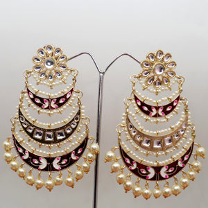 Three Layer Crescent Kundan