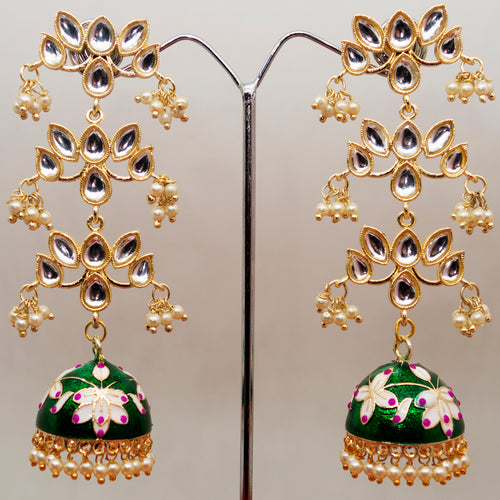 Three Layer Meenakari Kundan Jhumka