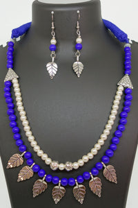 Two layered Blue and white with silver leaves - Inspired Creations