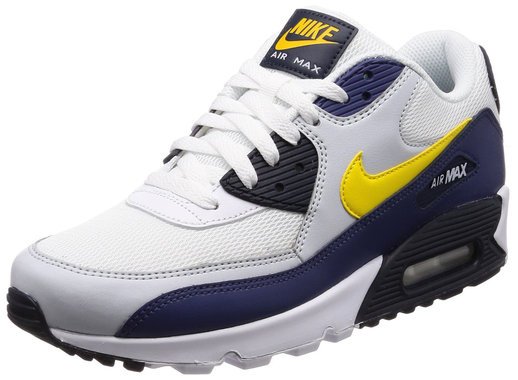 Men's Nike Air Max 90 Essential White Navy and Yellow Sneakers